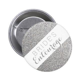 Silver glitter bride's entourage bridesmaid button