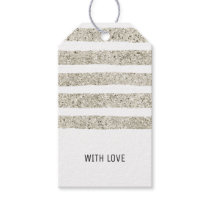 Silver Glitter Brush Strokes Gift Tags