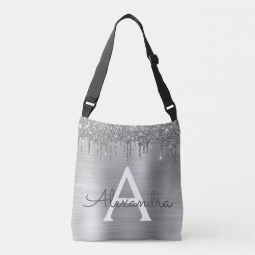 Silver Glitter Brushed Metal Monogram Name Crossbody Bag