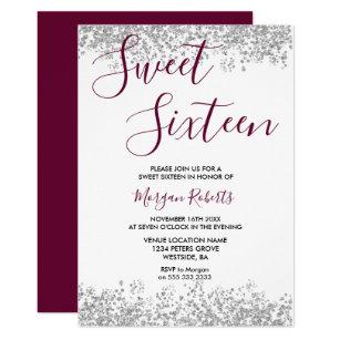 Silver Glitter Burgundy Sweet 16 Party Invitation