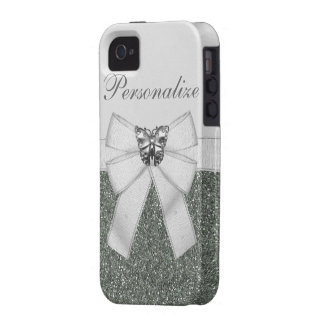 Silver Glitter & Butterfly iPhone 4/4S Case