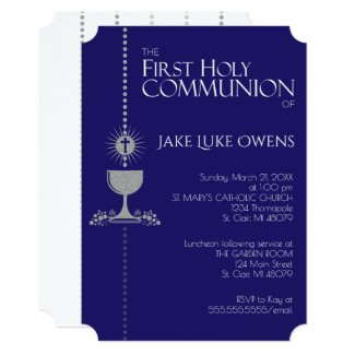 Silver Glitter Chalis First Communion Invitation
