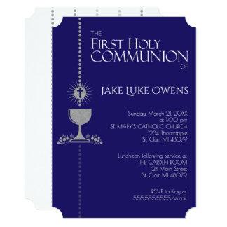 Silver Glitter Chalis First Communion Invitation