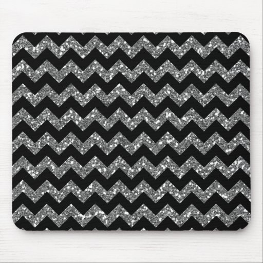 Silver Glitter Chevrons Elegant Texture Print Mouse Pad