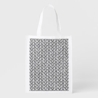Silver Glitter Chevrons Knit Pattern Print Reusable Grocery Bag