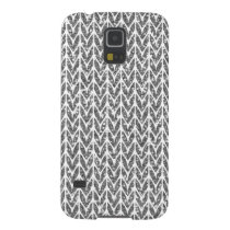 Silver Glitter Chevrons Knit Style Print Galaxy S5 Case