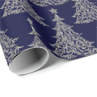 Silver Glitter Christmas Tree Wrapping Paper
