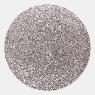Silver glitter classic round sticker
