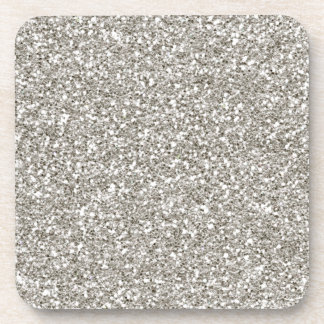 SILVER GLITTER COASTERS - set of 6