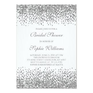 Silver Glitter Confetti Bridal Shower Card