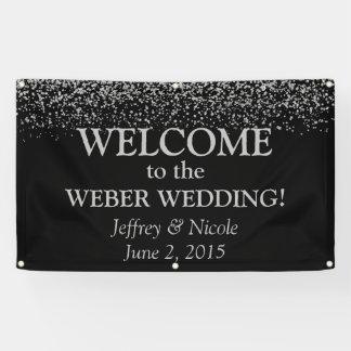 wedding custom banners & signs zazzle Wedding Banner Custom silver glitter confetti custom wedding banner customized wedding banner