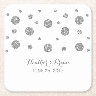 Silver Glitter Confetti Paper Coasters