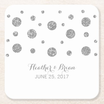trendythings Silver Glitter Confetti Paper Coasters