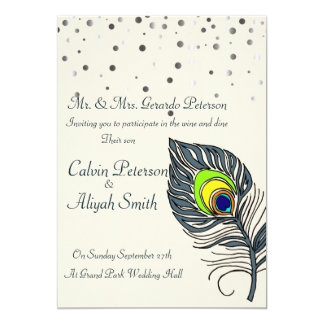 Silver Glitter Confetti Peacock Feathers Wedding Card