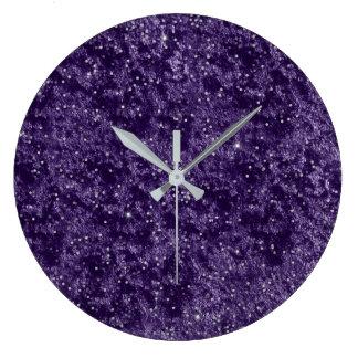 Silver Glitter Confetti Purple Violet Velvet Grape Large Clock