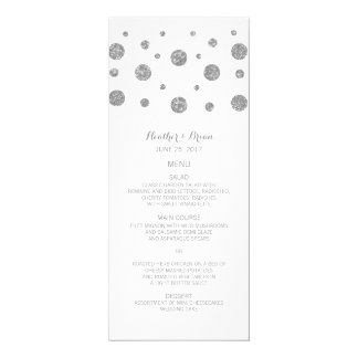 Silver Glitter Confetti Wedding Menu Card
