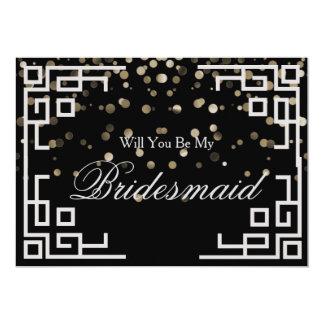 Silver Glitter Confetti Will you be my Bridesmaid Card