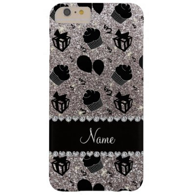 Silver glitter cupcakes balloons presents barely there iPhone 6 plus case