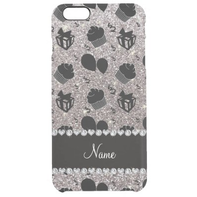 Silver glitter cupcakes balloons presents clear iPhone 6 plus case