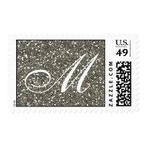 Silver Glitter  Custom Monogram Postage