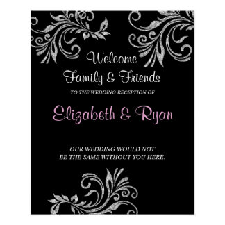 Silver Glitter Custom Wedding Welcome Poster