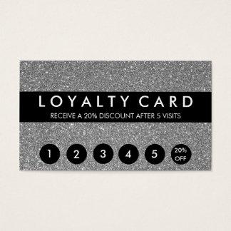Silver Glitter Customer Loyalty Business Card