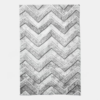 Silver glitter damask chevron pattern. kitchen towel