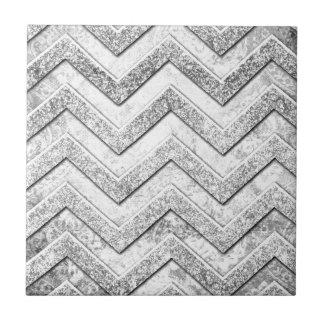 Silver glitter damask chevron pattern. tile