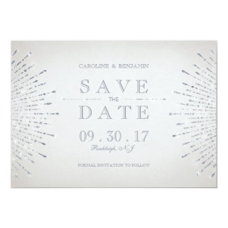 Silver glitter deco vintage wedding save the date card