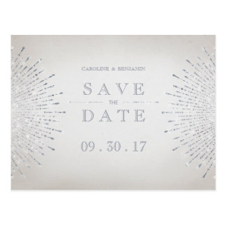 Silver glitter deco vintage wedding save the date postcard