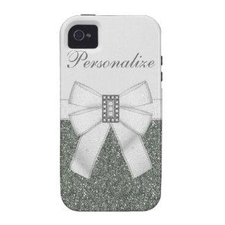 Silver Glitter & Diamond Bling iPhone 4/4S Case