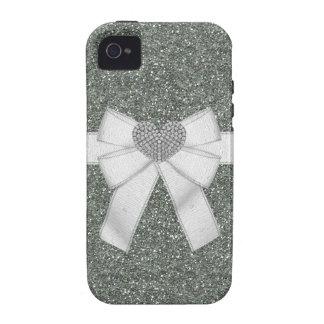 Silver Glitter & Diamond Heart iPhone 4/4S Case