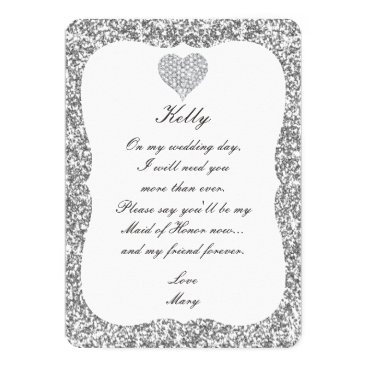 Valentines Themed Silver Glitter Diamond Heart Maid Of Honor Card