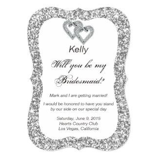 Silver Glitter Diamond Hearts Bridesmaid Card