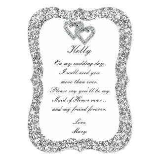 Silver Glitter Diamond Hearts Maid Of Honor Card