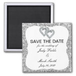 Silver Glitter Diamond Hearts Save The Date Magnet 2 Inch Square Magnet