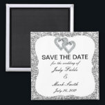 """Silver Glitter Diamond Hearts Save The Date Magnet<br><div class=""""desc"""">This beautiful save the date magnet is a stylish,  long lasting way to announce your big day. Personalize the magnet by changing the text in the fields provided. You can change font style,  size,  and color.</div>"""