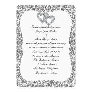 Silver Glitter Diamond Hearts Wedding Invitation