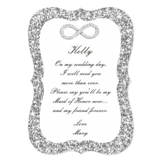 Silver Glitter Diamond Infinity Maid Of Honor Card