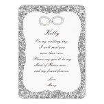 "Silver Glitter Diamond Infinity Maid Of Honor Card 5"" X 7"" Invitation Card"