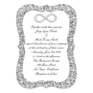 Silver Glitter Diamond Infinity Wedding Invitation