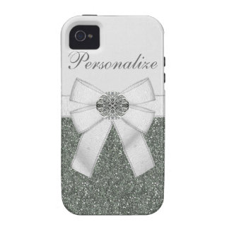 Silver Glitter & Diamond Jewel iPhone 4/4S Case