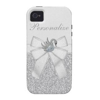 Silver Glitter & Diamond Swan iPhone 4/4S Case
