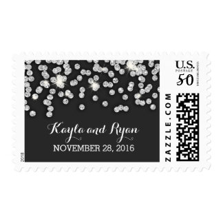 silver glitter diamonds wedding postage