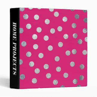 Silver Glitter Dots and Hot Magenta Pink Binder