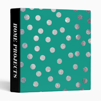 Silver Glitter Dots and Teal Green Binder