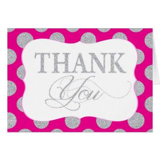 Silver Glitter Dots Hot Pink Modern Thank You Card