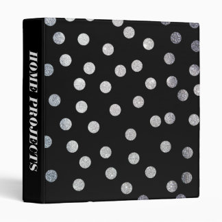 Silver Glitter Dots on Black Binder