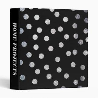 Silver Glitter Dots on Black Binder