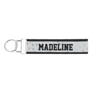Silver Glitter Dots on Gray with Custom Text Wrist Keychain